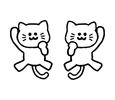 Guts pose cat (animal simple black and white)