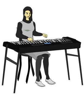 Female keyboard player