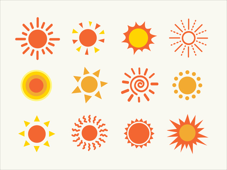 Illustration set of the sun