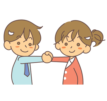 合作男女握手