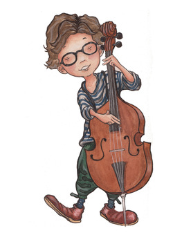 A boy playing cello