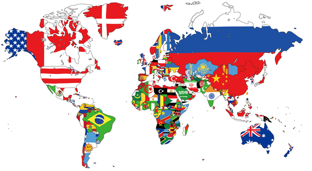 World map with national flag Global map