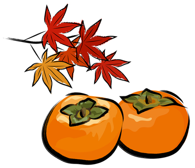 Autumn leaves and persimmon