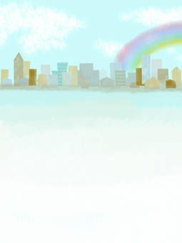 Buildings and rainbow