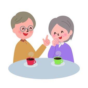 談笑するおじいさんとおばあさん