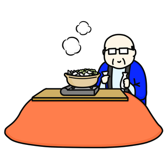 Middle-aged male kotatsu hotpot