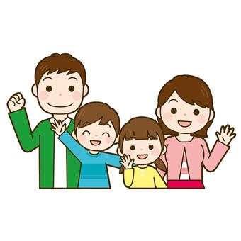 家族4人 上半身