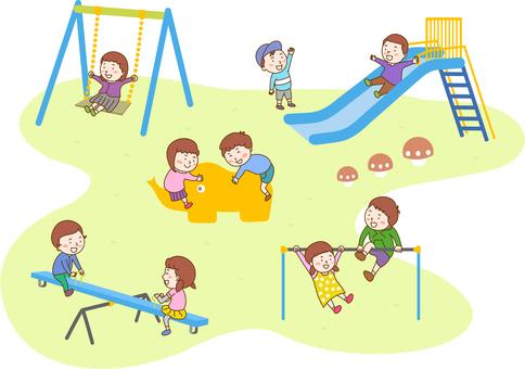 공원에서 노는 아이들