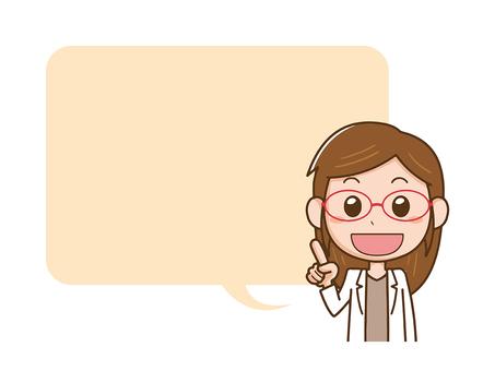 Female doctor white coat pharmacist commentary explanation balloon