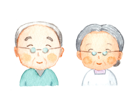 Grandpa drawn with watercolor Grandma
