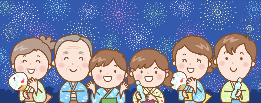 6 people family: flower fire