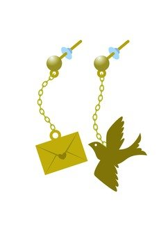 Letter and Pigeon Earrings