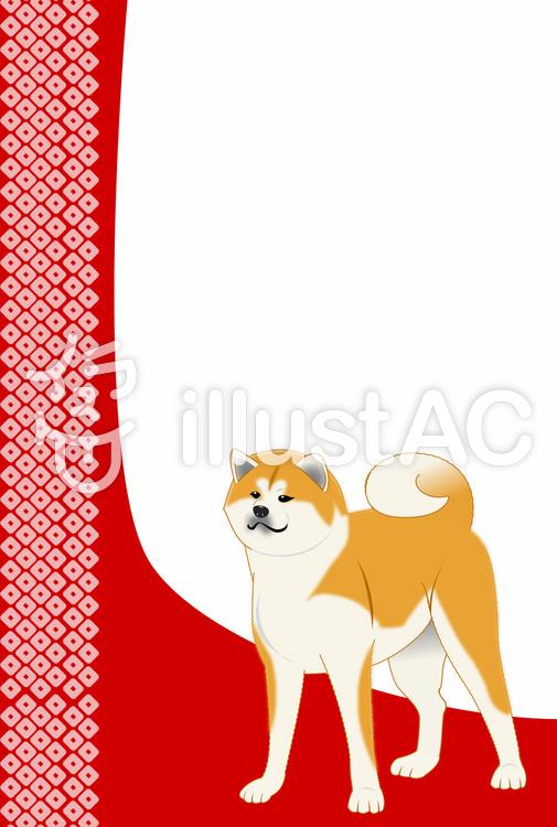 秋田犬の年賀状・文字なし02のイラスト