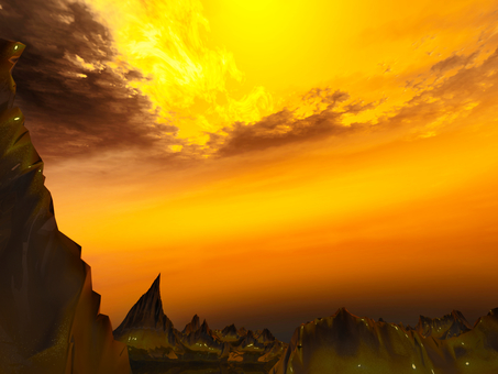 Fantastic fantasy landscape (fire sky)
