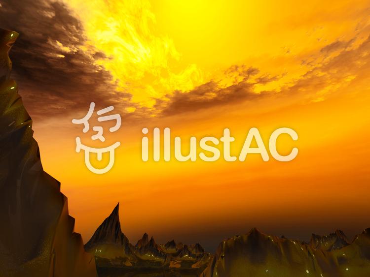 幻想的なファンタジーな景観(火の空)のイラスト
