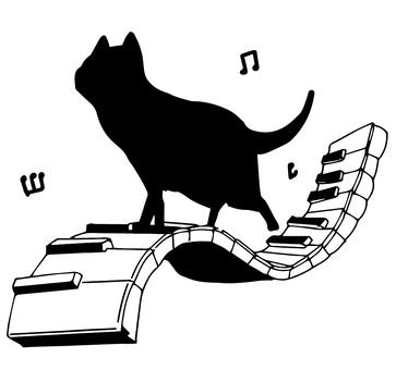 Kuroneko silhouette piano