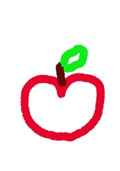 Handwritten apple crayon style