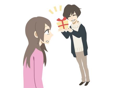 선물을 전달 남성