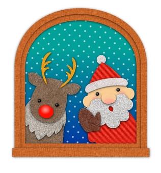 Santa peeking through the window and reindeer