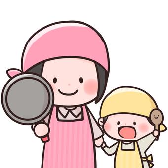 與父母和孩子一起烹飪
