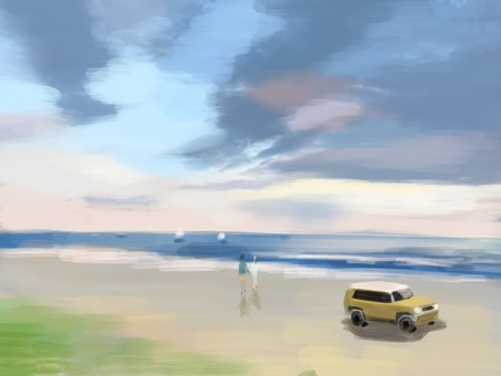 Ocean and the car