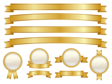 Ribbon & Medal Set Gold 01
