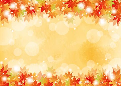 Autumn leaves Maple frame Orange 2