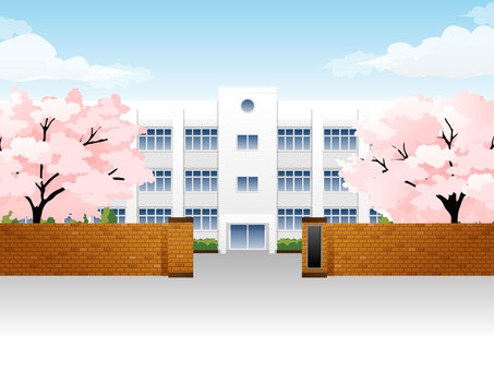 School building 3 cherry blossoms