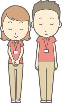 Male / Female Polo - Bow - Smile - whole body