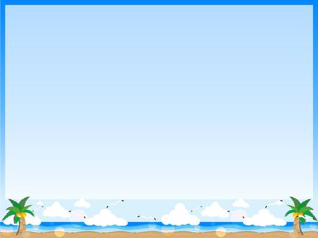 Ocean and beach and gull frame
