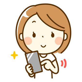 Bob girl operating a smartphone