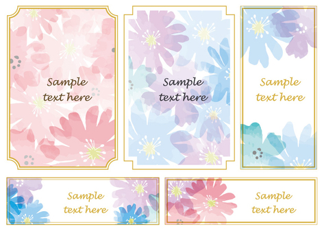 Watercolor flower frame set 2