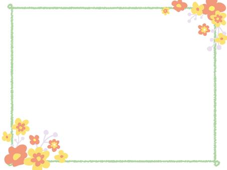 Retro style flower frame doodle style