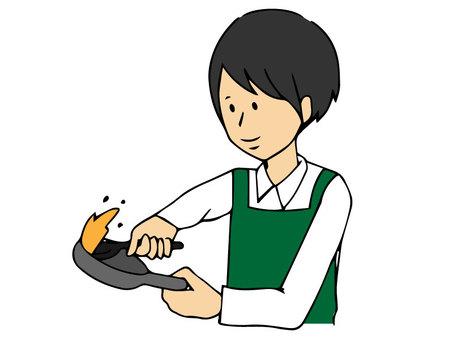 프라이팬에 요리하는 남자 (컬러)