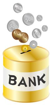 Coin and piggy bank (gold color, English letters)