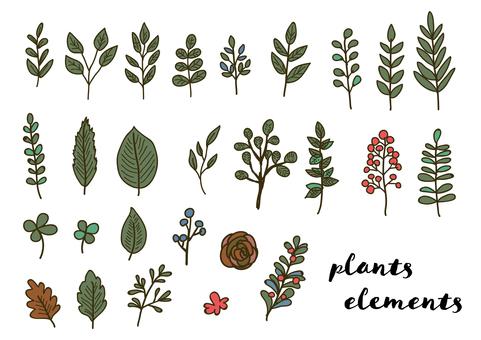 필기 소재 047 잎의 세트