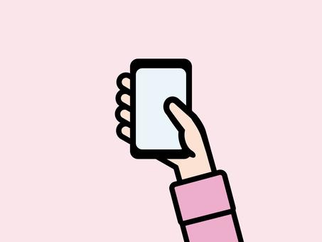 Hand using smartphone