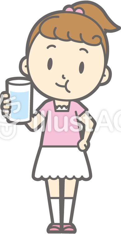 女の子半袖a-ブクブクうがい-全身のイラスト