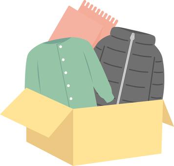 Winter clothes change box illustration
