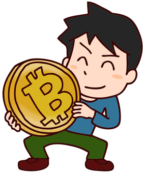 Men's illustration with bit coins