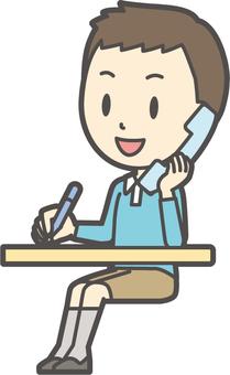 男童藍色長袖338-全身
