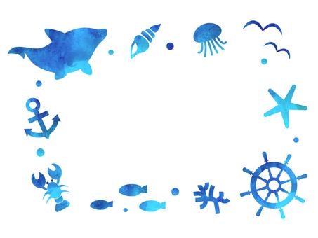 Sea creatures Watercolor frame 1