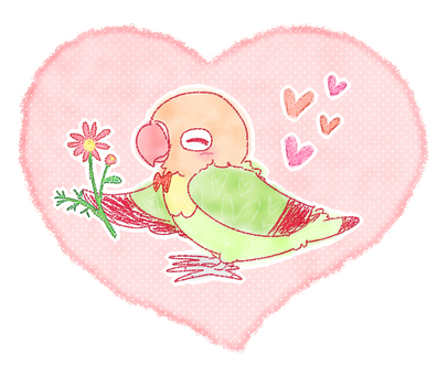 Parakeet and flower (heart)