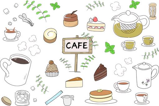 Cafe menu material set