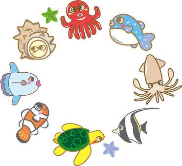 귀여운 물고기 프레임 원형