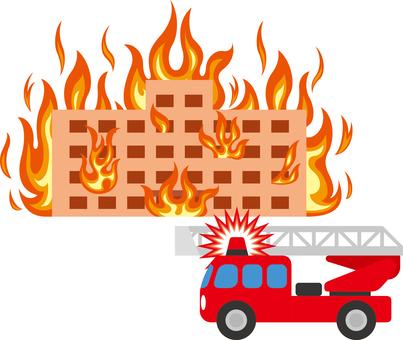 Building Fire Ladder Car Fire Engine