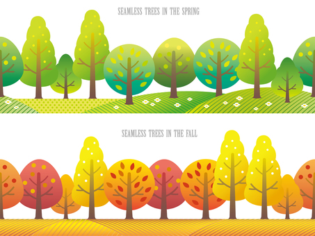 Seamless Four Seasons Forest Spring and Autumn Set