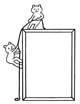 Frame climbing bear