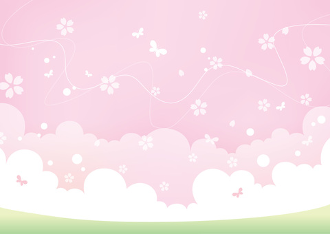 Sky and earth landscape Spring cherry blossoms 02