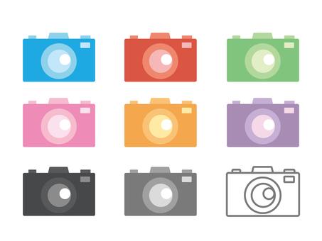 Colorful camera icon set